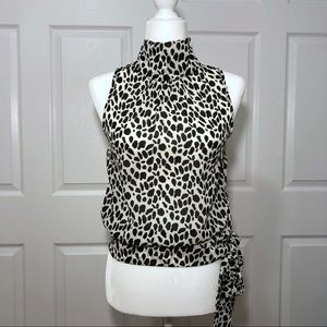 Animal Print Side Tie Sleeveless Blouse